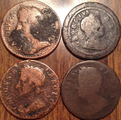 17S 18S Uk Great Britain Farthings Lot Of 4 Ultra Old Coins #u2