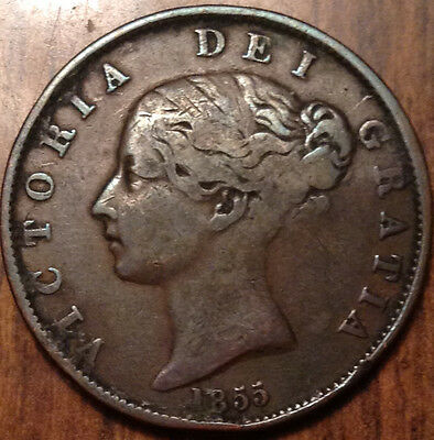 1855 Uk Gb Great Britain Half Penny In Good Condition