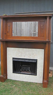 Old 1900s Quarter Sawn Solid Oak  Fireplace Mantel  Architectural Salvage