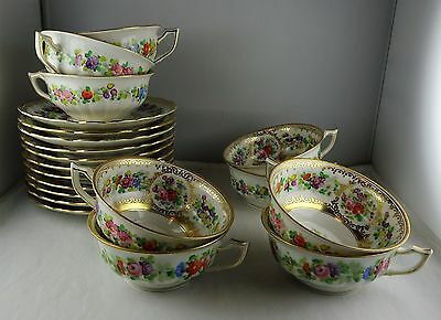 8 Porzellanfabrik Wehinger China Cup & Saucer Sets Hand Painted Floral & Gold
