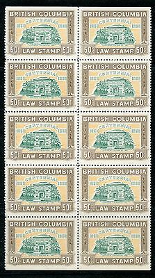 Weeda BCL48 VF MNH block of 10, 50c brown 1958 BC Law Stamps revenues CV $437.50