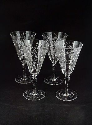 Four Tuthill Engraved Water Glasses Or Wine Goblets Signed