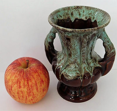 Vintage pottery vase 5 inches tall classical urn green and brown marked FOREIGN