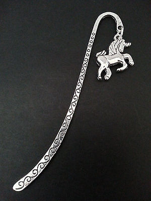New Collectable Antique Silver Tone Metal Bookmark with Unicorn Charm