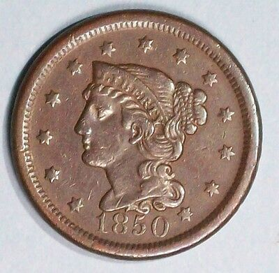 U.s.a Braided Hair Large Cent 1950 Very Fine Bronze Coin