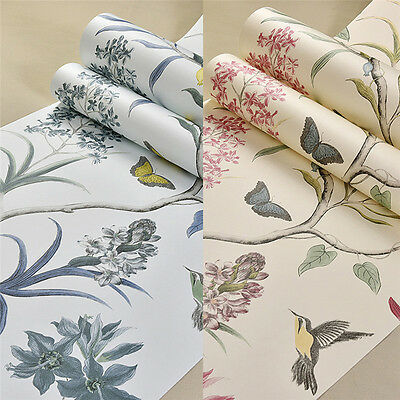 10M Vintage Floral Bird Wallpaper Roll Pastoral Style TV Wall Sticker Home Decor