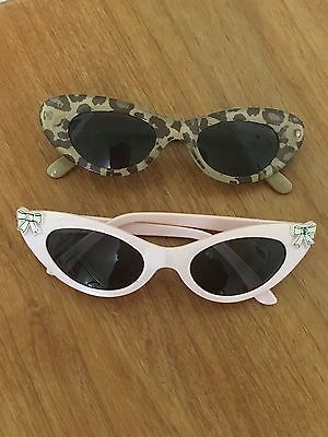 GYMBOREE VTG  2000s - 2 Pair SUNGLASSES - 2-4 -GIRL - BABY PINK/LEOPARD CATS EYE