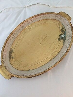Italian Florentine Wood Tray Sezzatini Gold Oval RV $105