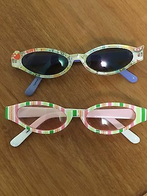 GYMBOREE VTG  2000s - 2 Pair SUNGLASSES - 2-4 -GIRL - FUN FRUIT & CANDY STRIPES