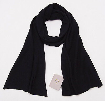 NWT $510 CRUCIANI Solid Black Superfine 100% Cashmere Scarf Made in Italy