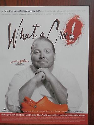 2008 Print Ad, Mario Batali, Orange Crocs Shoes