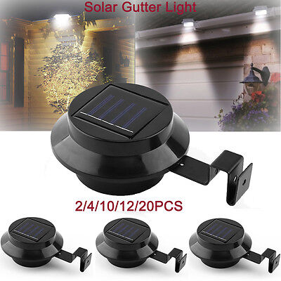 2/10/12/20X 3 22 LED Solar Fence Gutter Outdoor Garden Motion Sensor Light Lamp