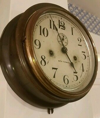 Antique Seth Thomas Ship Clock Maritime Rail Road Clock 8""