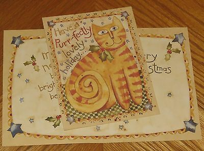 Purr-fect Holiday Karen Hillard Crouch cat Lang Old Glory Christmas Cards 5ct