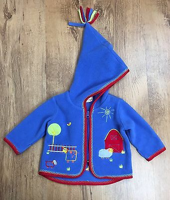 Hanna Andersson Fleece Hooded Jacket Baby Boys Infant Size 60 : 3 to 6 mos Farm