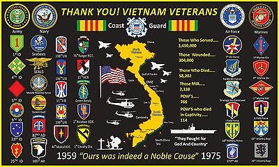 Vietnam Veterans Thank You! 3'x5'  2Pl Polyester 1-Sided Indoor 4 Grommet Flag