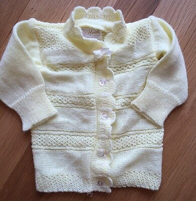 Vintage Heidi Brand Baby Sweater Yellow Size NB/3 Months Acrylic