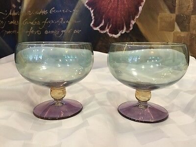 2 COLORATI Pearlescent Brandy/Cognac Snifter Style Stemmed Glasses~Excellent
