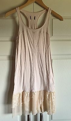 Pre Owned FREE PEOPLE Intimately Racerback Baby Pink Cream Ruffle Lace Slip XS