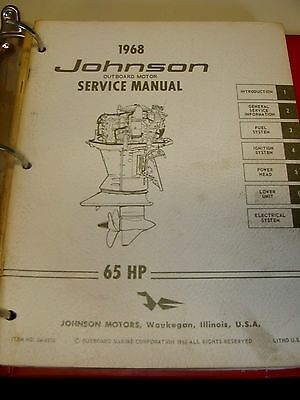 1968 johnson factory outboard motor service manual 65 hp 14 95 rh picclick com Johnson Outboard Motor Year Johnson Outboard Parts Diagram
