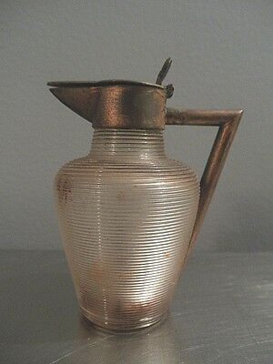Art Deco Ribbed Glass Small Pitcher