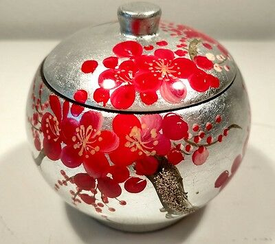 Round Lided Lacquer On Wood Trinket Jewelry Pill Box Cherry Blossom Silver Japan