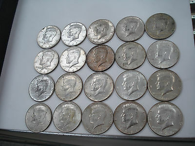 One Roll of 1965-1970 Kennedy Half Dollars (40% Silver) 20 Coins $10 Face Value
