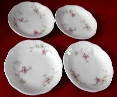 4 Antique Vintage SS Butter Pat Plates Pink Floral Embossed Swirl