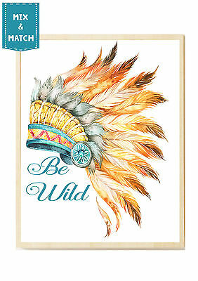 Watercolour Boho Tribal  Headdress Nursery Print bedroom-Nursery 10 x8, A4, A3
