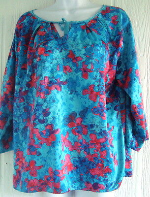 blouse large l shirt top blue pink floral print casual career womens