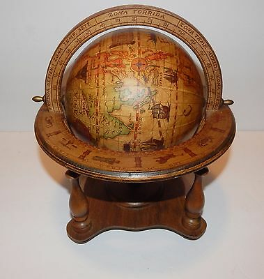 "Vintage Olde World Zodiac Globe 11"" Tall Wooden Made in Italy"