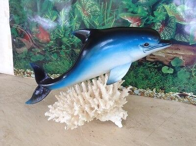 "Beautiful Hand Painted 14"" Dolphin Statue Figurine Sculpture Nautical Decor"