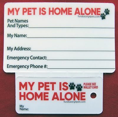 MY PET IS HOME ALONE Plastic Key Tag & Wallet Card I.C.E. Pet Emergency Cards