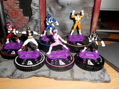 CUSTOM Heroclix MIGHTY MORPHIN' POWER RANGERS TEAM LOT White Red Blue Pink Black