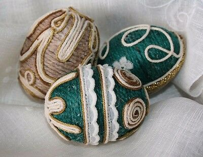 3 Beautiful hand decorated eggs shell Easter ornament String Art OOOK made by me