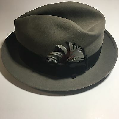 Vtg Stetson 7-1/8 Fedora The Sovereign Gray Black Ribbon Feather Button Mens Hat