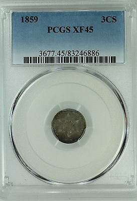 1859 Three Cent Silver! 3Cs! Pcgs Xf45! Us Coin Lot #2955