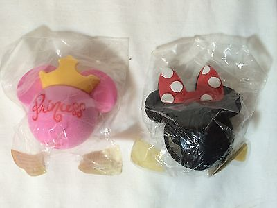 NEW 2 Disney Minnie Mouse Ear Antenna Topper Ball Pink Princess crown red bow