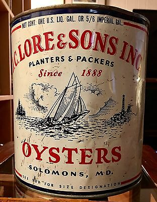 Vtg Vintage gallon oyster tin can J.C. Lore Solomons Island Southern MD sailboat