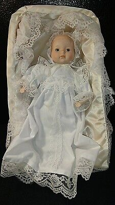 """Collectible Baby Prince William 11"""" Porcelain Doll Gown basket~crib~family tree"""