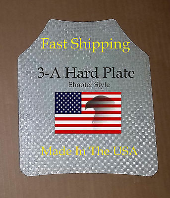 """Level III-A 10""""x12"""" Bullet proof Vest or Backpack plate Shooter Style"""