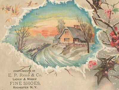 Victorian Trade Card EP Reed & Co Ladies & Misses Fine Shoes Rochester New York