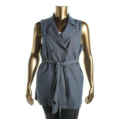 Sanctuary 8920 Womens Blue Chambray Double-Breasted Vest XL BHFO