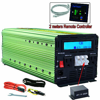 3000 Watt 6000W Power Inverter 12V DC to 120V AC LCD display cables Car Truck
