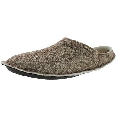 Crocs 6222 Mens Classic Brown Cable Knit Mule Slippers Shoes 12 Medium (D) BHFO