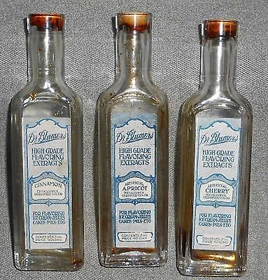 1920s Set (3) Dr Blumers 2 oz HIGH GRADE FLAVORING EXTRACT Bottles w/Labels NICE