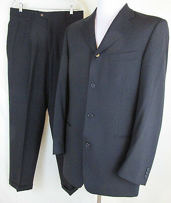 Bachrach Mens 2 Piece Suit 41 L Black Wool Jacket Long 34 W x 32.5 L Pants Italy