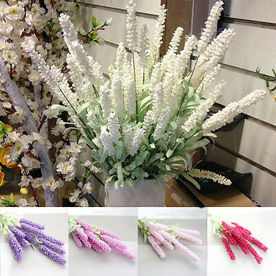 12 Heads Garden Wedding Bouquet Silk Flowers High Simulation Lavender Home Decor