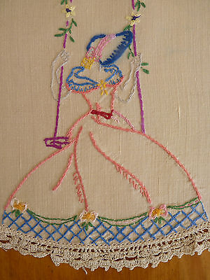CRINOLINE LADY on a Swing Vintage Hand Embroidered Centrepiece