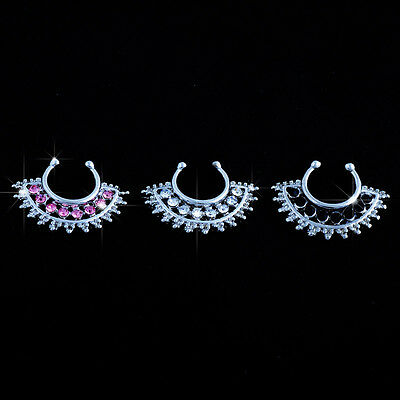 Stainless Steel Fake Nose Ring Septum Stud Ring Hoop CZ Crystal Sector Flower